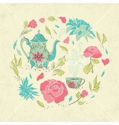 Card for tea party vector floral nature design by Lidiebug on VectorStock®