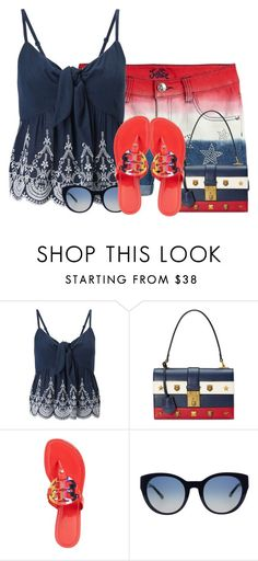 """""""Red, White and Blue"""" by tlb0318 on Polyvore featuring Miss Selfridge, Gucci and Tory Burch"""