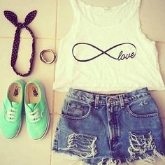 One of my favorite outfits! Infinite Love crop top with a headband, simple shorts, and sneakers! :)