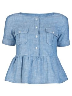 Peplum top in blue chambray