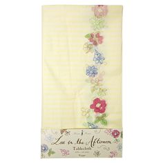 Yellow Stripe Floral Tablecloth