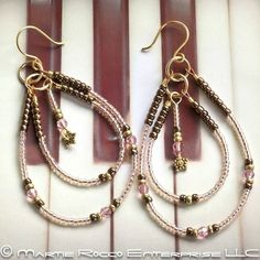 Double hoop earrings in pink seed beads and crystals, handmade by MartieRocco...ArtFire