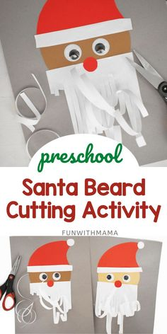 This Santas Beard Christmas Cutting Activity for Preschoolers is so cute and so much fun! Even the older kids will have to jump in and participate, too. Cutting Activities For Kids, Fine Motor Activities For Kids, Toddler Activities, Preschool Activities, Educational Activities, Kids Learning, Christmas Crafts For Kids To Make, Christmas Activities For Kids, Christmas Ideas
