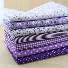 Fashion Patchwork Cotton Fabrics Fat Quarters Bundle Cotton Fabric for Quilting Sewing Purple Series Patchwork Fabric, Cotton Quilting Fabric, Fabric Squares, Cotton Textile, Fabric Sewing, Purple Fabric, Fabric Flowers, Fat Quarters, Dobby Fabric