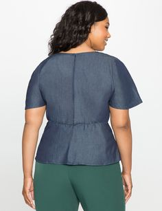 Flare Sleeve Tie Front Chambray Top Dark Wash