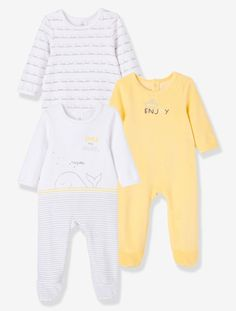 Pack of 3 Printed Velour Baby Pyjamas, Back Press-Studs - Pale yellow - 6
