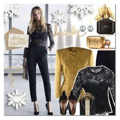 """""""Merry Christmas!"""" by elena-starling ❤ liked on Polyvore featuring Marc Jacobs, M&S Collection, Marc by Marc Jacobs, Kate Spade, By Terry, Christmas, gold, fallwinter2015 and Christmas2015"""