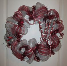 Silver and Red Deco Mesh Holiday Wreath by ChonasCreations on Etsy, $55.00