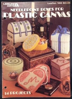 Plastic Canvas Patterns Needlepoint Leaflet Leisure Arts Boxes Heart Round Vtg | eBay