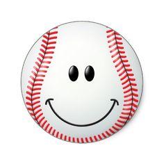 Baseball Smiley Face Sticker