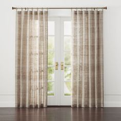 Shop Hayden Silk Curtains.  From afar, Hayden silk curtains float a solid natural tone.  Up close, the curtain panel reveals its slight luster and a wealth of textural nubs, beautiful characteristics of handspun silk.   also available.
