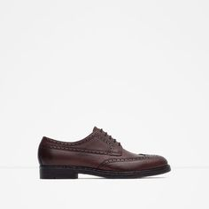 LEATHER OXFORD BLUCHERS WITH BROGUEING-Shoes-MAN-SALE   ZARA United States