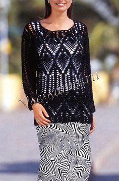 Черный - навсегда! Ажурный пуловер крючком. Обсуждение на LiveInternet - Российский Сервис Онлайн-Дневников
