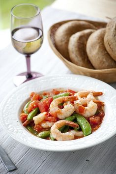 Fresh Summer Tomatoes and Peas with Shrimp Recipe