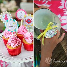 alice cupcakes and tea cups