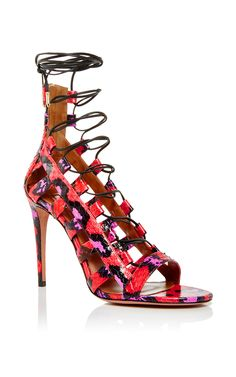 Amazon Snakeskin Printed Tie Heels by Aquazzura Now Available on Moda Operandi