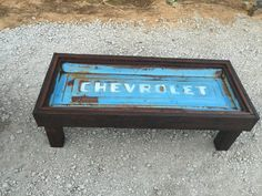 Old chevy tailgate table by Killerstyles on Etsy Car Part Furniture, Automotive Furniture, Automotive Decor, Design Furniture, Garage Furniture, Blue Furniture, Bench Furniture, Diy Wood Projects, Furniture Projects