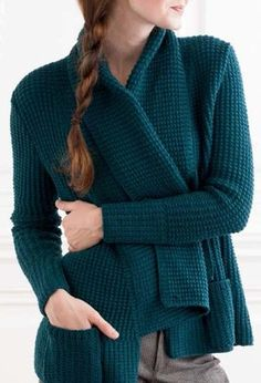 """Knitting Pattern for Lark Cardigan - Love the texture and collar on this long-sleeved sweater. This classy cardigan has an easy fit, pebble rib stitch pattern, pockets and wide draped shawl collar. Sizes 34½ (38, 43½, 47, 52)"""" bust circumference"""