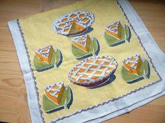 Vintage Yellow Linen Tea Towel Pie Print by VintageZipper on Etsy
