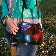 Outer Space Bag Small Shoulder Bag Planets by CarolJoyFashions