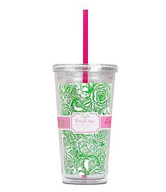 Lilly Pulitzer Tumber with Straw. I'm drinking out of one of these right now. Love them.