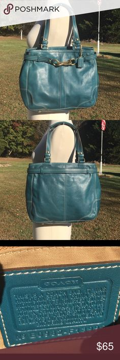 Vintage COACH Teal Leather Belted Satchel Gorgeous, rare teal leather COACH Hampton satchel. Belted with a gold tone clip. So pretty and unbelievably versatile. Truly can be cared any season. Very good vintage condition with no notable flaws and clean interior. Classic COACH styling and class! Coach Bags Satchels