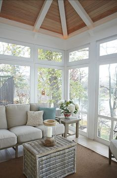 EAST COAST INSPIRED SHINGLE HOME .. SUNROOM OVER LOOKING THE LAKE ** do as a screened porch, lighting hidden behind crown type molding, love the ceiling mill work
