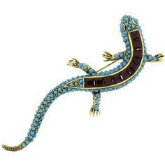 Kenneth Jay Lane Turquoise Blue and Ruby Crystal Newt Lizard Brooch Pin