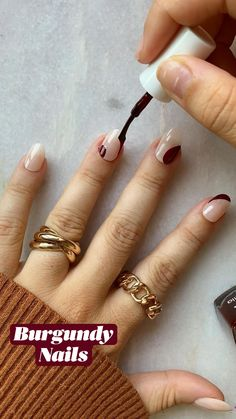 Simple Fall Nails, Autumn Nails, Cute Fall Nails, One Color Nails, Nail Colors, Fall Nail Designs, Simple Nail Designs, Colored French Tips, Burgundy Nails