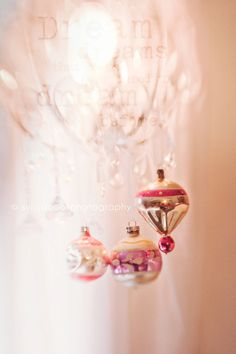 pastelpresent:  Holiday photography,Christmas photo,vintage glass ornaments,shabby chic,ethereal,holiday decor, chandelier,home decor,fine art photography