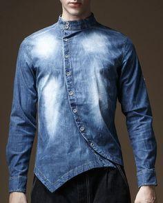 Irregular Design Buttons Stand Collar Bleach Wash Long Sleeve Denim Shirt For Men