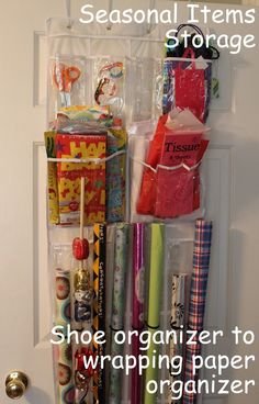 Gift Wrap Storage {from an over the door shoe organizer} - * THE COUNTRY CHIC COTTAGE (DIY, Home Decor, Crafts, Farmhouse)