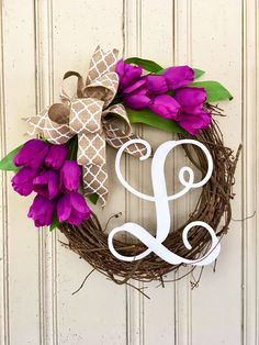 Spring Wreath with Monogram, Monogram Wreath for Spring, Tulip Wreath for Spring, Tulip Wreath with Monogram, Mother's Day Gift  A personal favorite from my Etsy shop https://www.etsy.com/listing/519287655/spring-wreath-with-monogram-monogram