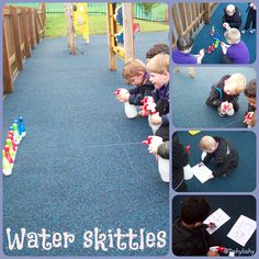 Water sprayer and skittle game.
