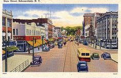 postcard of State St. in Schenectady, NY. Thermal Imaging Camera, State Street, Vintage Postcards, World War Ii, Worlds Largest, 1930s, Novels, Handsome, Street View