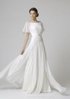 A-line Princess Bateau And Organza Floor-length  Wedding Dress  at Storedress.com