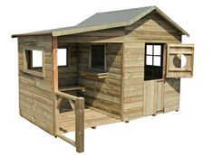 Forest-Style Caseta infantil Hacienda x x cm, Natural) Wooden Outdoor Playhouse, Backyard Playhouse, Build A Playhouse, Bauhaus, Kids Play Spaces, Tin House, Mud Kitchen, Potting Sheds, Outdoor Projects