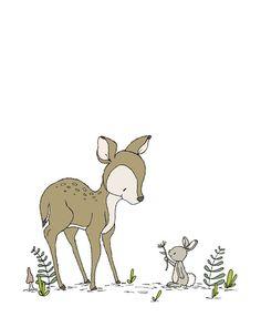 Hirsch Baumschule Hirsch und Bunny von SweetMelodyDesigns auf Etsy