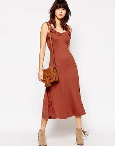 Image 4 ofASOS TALL Strappy Rib Full Midi Dress