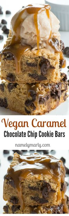 Celebrate National Caramel day in style with these Vegan Caramel Chocolate Chip Cookie Bars. I know you're going to love them! That's because these ooey gooey Vegan Caramel Chocolate Chip Cookie Bars boast a flavorful, dense cookie base, topped with a sur