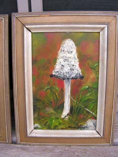 Vintage Mushroom Oil Painting signed Peggy Granath / Retro 1960's Original Framed Toadstool Painting /