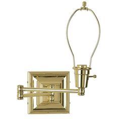 Brass Finish Plug-In Swing Arm Wall Lamp Base - #77426   LampsPlus.com no shade $89.00
