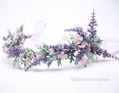 Lavender Wildflower Flower Crown, Boho Wedding Floral Headpiece This Flower . Purple Wedding, Boho Wedding, Floral Wedding, Garden Wedding, Flower Crown Wedding, Bridal Flowers, Flower Crowns, Crown Flower, Floral Hair