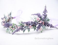 Lavender Wildflower Flower Crown Boho Wedding Floral Headpiece, Wedding Hair Accessory Lavender Flower Halo
