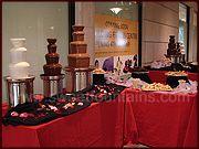 White, milk and dark chocolate- 6 fountains! Chocolate Fountain Rental, Chocolate Fountains, Houston, Cake, Desserts, Milk, Food, Tailgate Desserts, Deserts