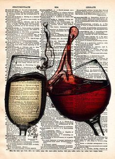 Wine art, Wine splash art, pouring wine, Gift for wine drinker. Red and White wine come together in a mouthwatering splash! These unique and original artwork are printed on authentic vintage early 190
