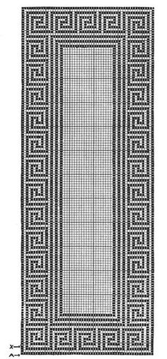 Greek Key Runner Pattern #7120 chart Crochet Table Runner Pattern, Crochet Tablecloth, Crochet Doilies, Doily Patterns, Cross Stitch Patterns, Crochet Patterns, Filet Crochet Charts, Crochet Diagram, Thread Crochet