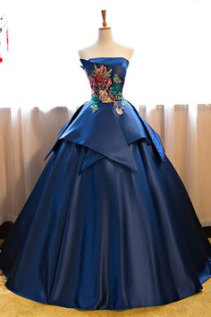 Cheap Prom Dresses Blue Floor Length Satin Wedding Gown Featuring Floral Embroidered Strapless Straight Across Bodice And Lace-Up Back Strapless Prom Dresses, Elegant Prom Dresses, Cheap Prom Dresses, Quinceanera Dresses, Pretty Dresses, Dress Prom, Elegant Ball Gowns, Formal Dresses, Blue Ball Gowns