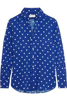 Saint Laurent - Polka-dot Crepe De Chine Shirt - Cobalt blue - FR36