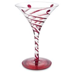 Peppermint Twist Hand-Decorated Martini Glass   This hand-decorated Martini glass is designed with clear glass and painted peppermint stripe...